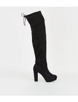 Wide Fit Black Platform Over The Knee Boots by New Look