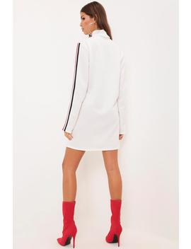 White Oversized Stripe Sleeve High Neck Dress by I Saw It First