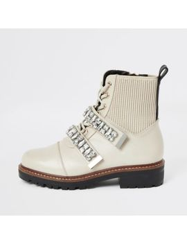 Cream Faux Leather Embellished Biker Boots by River Island