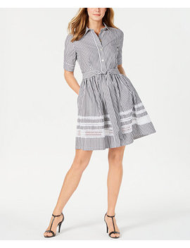 Cotton Short Sleeve Lace Trim Shirtdress by General