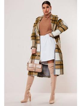 Mustard Check Oversized Cocoon Coat by Missguided