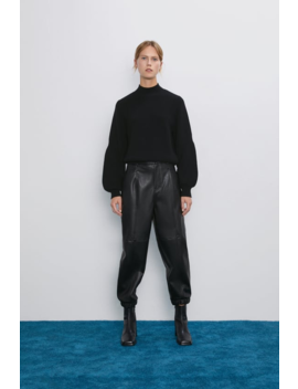 Faux Leather Pants  Cargo Pants Woman by Zara