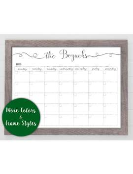 2019 Monthly Whiteboard Calendar, Farmhouse Calendar, Menu Planner, Framed Wall Calendar, Dry Erase Reusable Calendar, Back To School #1884 by Etsy