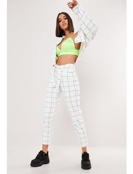 White Grid Print Co Ord Riot Mom Jeans by Missguided