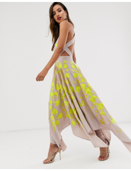 Asos Edition Embroidered Midi Dress With Cut Out Sides by Asos Edition