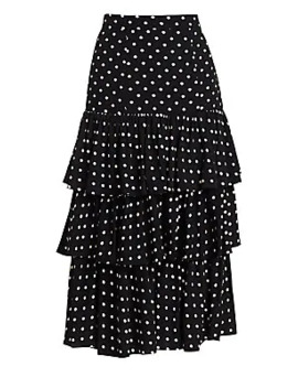 Rowena Tiered Polka Dot Midi Skirt by Cinq à Sept