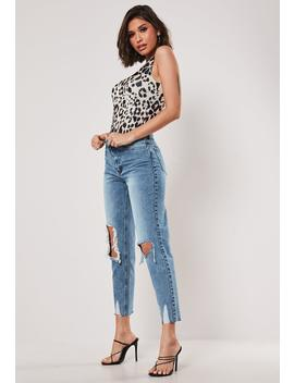Petite Blue Riot Busted Knee High Rise Mom Jeans by Missguided