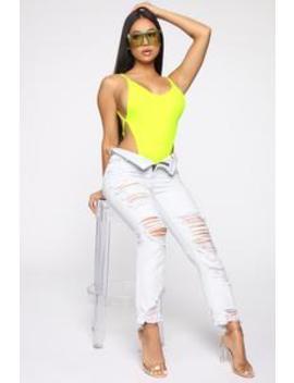 Too Hip For You Bodysuit   Neon Yellow by Fashion Nova