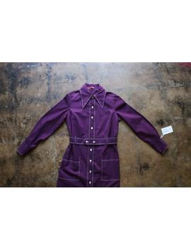 1970's Shirt Dress / Button Up Purple Dress /  Women's Vintage Clothing / Medium by Etsy