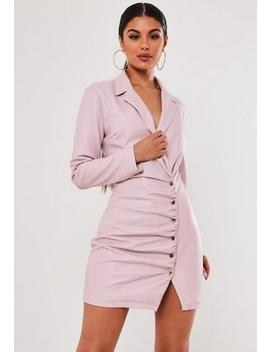 Stassie X Missguided Lilac Faux Leather Blazer Dress by Missguided