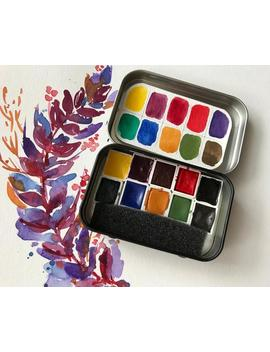 Watercolor Handmade Watercolour Paint Set In A Black Travel Tin With 10 Half Pans Brights by Etsy