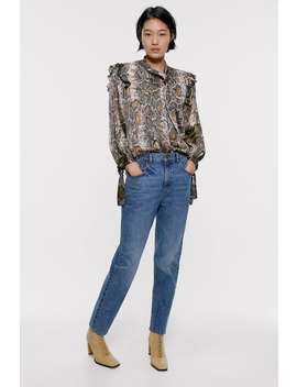 Snakeskin Print Blouse View All Shirts by Zara