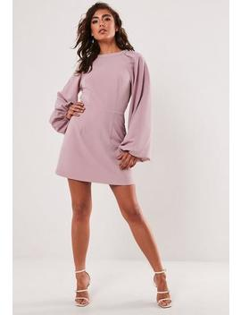 Lilac Puff Sleeve High Neck Mini Dress by Missguided