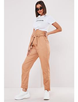 Petite Tan Tie Cuff Cargo Pants by Missguided