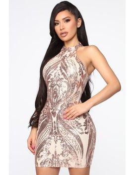 Memorable Time Sequin Mini Dress   Rose Gold by Fashion Nova