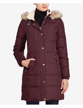 Faux Fur Trim Quilted Down Coat, Created For Macy's by General