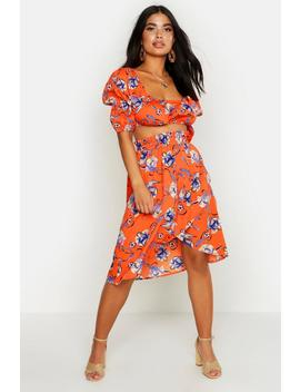 Petite Floral Peasant Top & Skirt Beach Co Ord by Boohoo