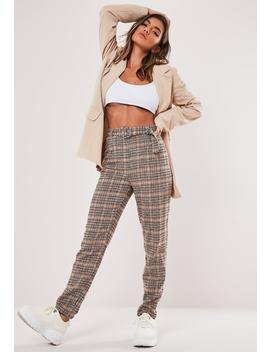 Petite Brown Heritage Check Cigarette Pants by Missguided