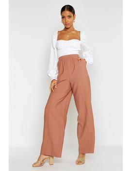 Pin Tuck Linen Look Wide Leg Trousers by Boohoo