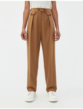 Wool Blend Tailored Pleat Pant In Camel by Mijeong Park
