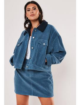 Plus Size Blue Teddy Collar Jumbo Cord Jacket by Missguided