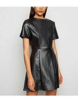 Innocence Black Leather Look Skater Dress by New Look