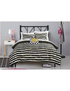 Latitude Gold Glitter Stripe And Polka Dot Bed In A Bag Bedding Set by Latitude