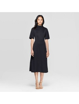 Women's Short Sleeve Cowl Neck Back Tie A Line Midi Dress   Who What Wear by Who What Wear