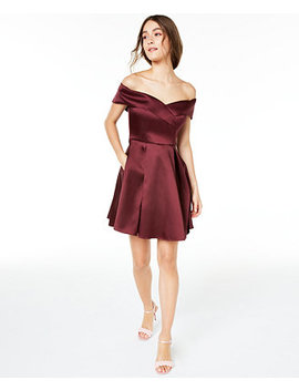 Juniors' Off The Shoulder Satin Dress, Created For Macy's by General