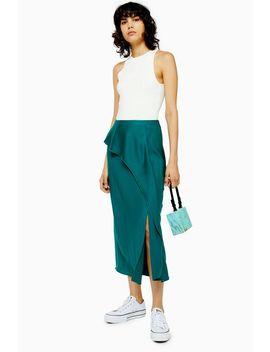 Emerald Green Drape Satin Bias Midi Skirt by Topshop