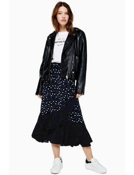 Black And White Spot Wrap Midi Skirt by Topshop