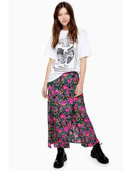 Pink Floral Bloom Print Split Midi Skirt by Topshop