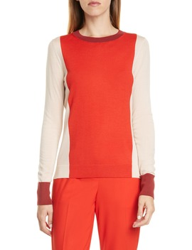 Fiolena Colorblock Wool Sweater by Boss