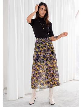 Floral Button Up Midi Skirt by & Other Stories