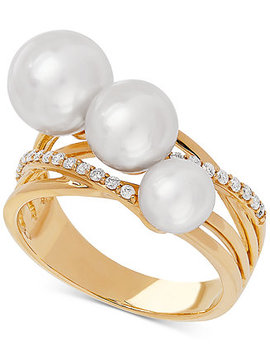 Honora White Cultured Freshwater Pearl (6, 7 & 8mm) & Diamond (1/6 Ct. T.W.) Ring In 14k Gold by General