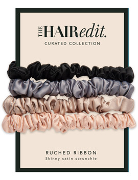 Ruched Satin Scrunchies by The Hair Edit