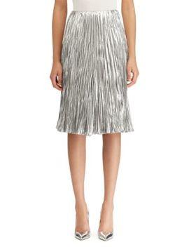 Kiernan Pleated Lamé A Line Skirt by Ralph Lauren Collection