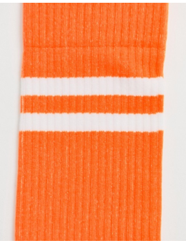 Asos Design Sports Socks In Neon Orange With Stripe by Asos Design