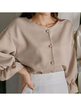 Icecream12   Round Neck Faux Pearl Button Blouse by Icecream12