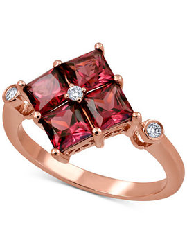 Rhodolite Garnet (2 1/2 Ct. T.W.) & Diamond Accent Statement Ring In 14k Rose Gold by General