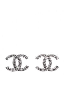 Chanel Crystal Royal Flush Cc Stud Earrings Silver by Chanel