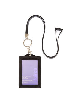 Shakey Sequin Keyring Id Holder With Lanyard   Black by Claire's