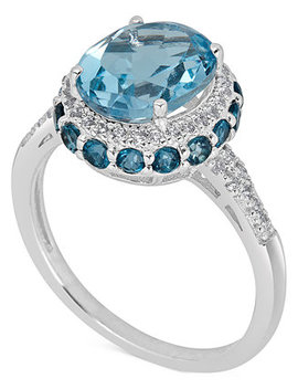 Blue Topaz (2 1/3 Ct. T.W) And White Topaz (1/6 Ct. T.W) Ring In Sterling Silver by General