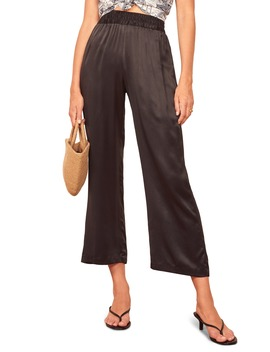 Harland Satin Crop Wide Leg Pants by Reformation