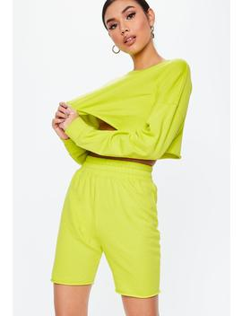 Neon Lime Cropped Sweatshirt Cycling Short Set by Missguided