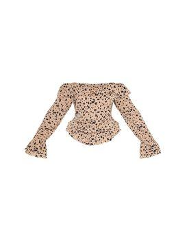 Plus Brown Leopard Print Chiffon Bardot Blouse by Prettylittlething