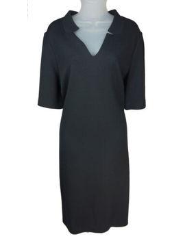 Women's St. John Caviar Black Mesh Knit Short Sleeve Dress Size 16 by St John Caviar