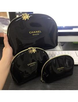 Chanel Vip Gift Beaute Gold Snowflake Makeup Cosmetic Bag Pouch Zipper Lot 3pcs Black by Etsy