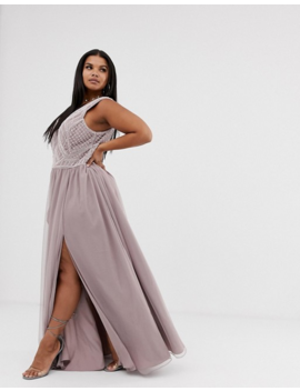 Asos Design Curve Maxi Dress With Tulle Skirt And Emebllished And Pearl Bodice by Asos Design