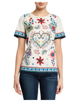 Heart Floral Short Sleeve Cotton T Shirt by Tory Burch